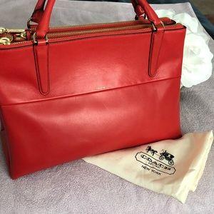 Huge deep orange Coach purse
